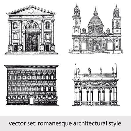 florence italy: stile architettonico romanico Vettoriali