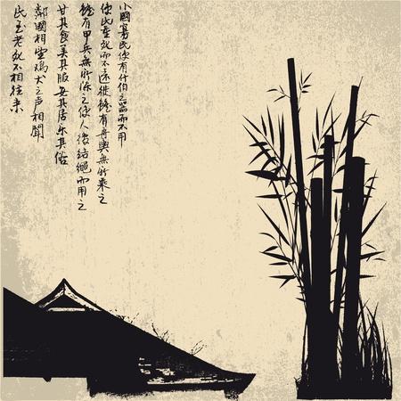 tempels: ZEN, silhouet, symbolen Stock Illustratie