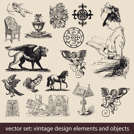 stile liberty: Elementi Vintage, Oggetti - vector set Vettoriali
