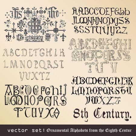 illumination: vector de configurar alfabetos ornamentales, desde el siglo VIII Vectores
