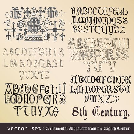 vector set  Ornamental Alphabets, from the Eighth Century