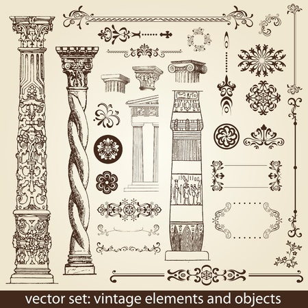 decorative elements: vintage elements - antique - vector Illustration