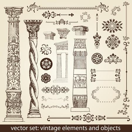 vintage elements - antique - vector Illusztráció