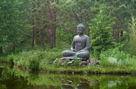 Sitting Buddha on a lake photo