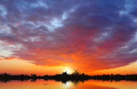 Beautiful sunset at the lake Stock Photo