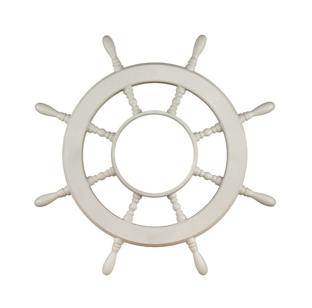 Vintage Antique White Wooden Sail Boat or Yacht Maritime Wheel Isolated on White Background with Copy Space photo