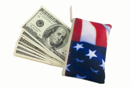 American Flag Wallet with 100 hundred dollar bills stacked sticking out of it photo