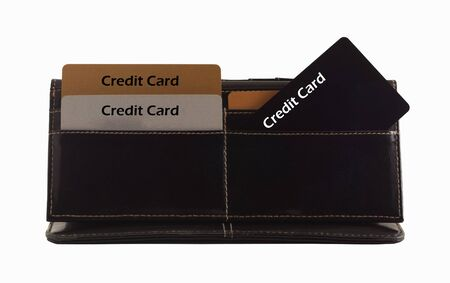 Gold Black Platinum credit cards in the black wallet. photo