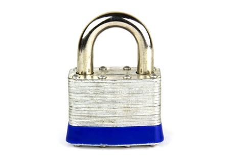 Steel security lock isolated on white Stock Photo - 15015132
