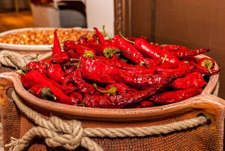 red chilly: Red chilly pepper serving as a spicy