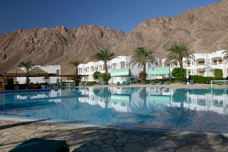 Resort just outside of Dahab on the Red Sea in Egypt Stock Photo