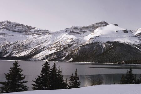 Lake freezing over in cold weather Stock Photo