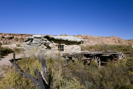 Old Homestead and wagon in Arches National Park Utah