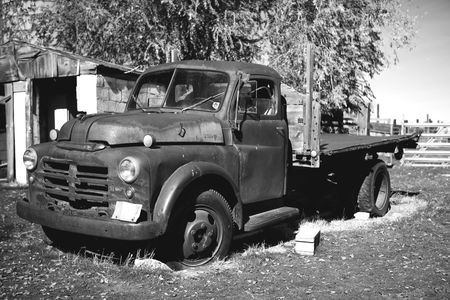 Black and White of an old pickup truck