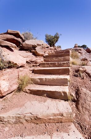 Rock steps carved out of the bank