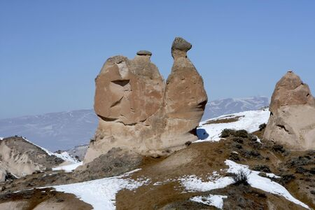 This rock shaped like a camel in found in Capadocia Turkey Stock Photo