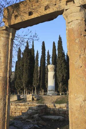 Roman Ruins of Hierapolis. The Roman ruins of Hierapolis  are found at Pamukkale Turkey