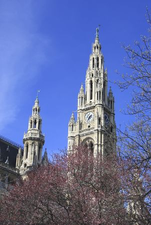 rathaus: Neo Gothic town hall with its spires houses Viennas city council Stock Photo