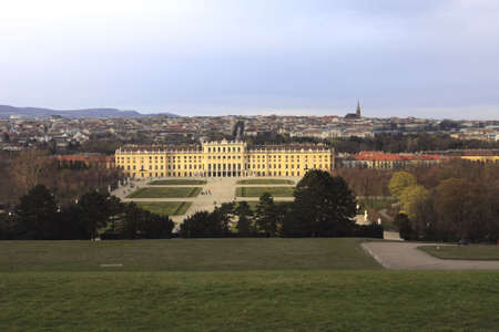 Evening shot of Vienna with Schonbrunn in foreground Stock Photo