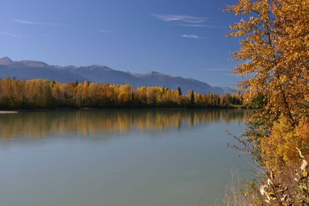 Autumn photo of the Fraser River in BC Stock Photo