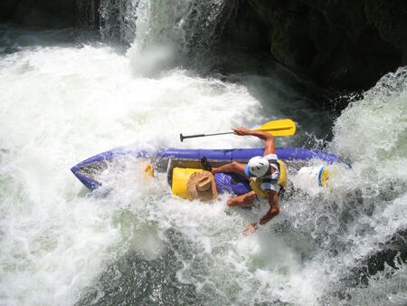Bottom of the waterfall on the Moho River in Belize. Kayaking the Moho River in Belize