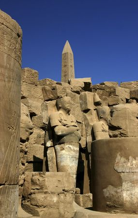 One of the obelisk in the Temple of Karnak in Luxor Egypt Stock Photo