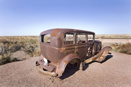 Old car in the desert in Uath Stock Photo