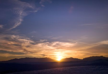 Sunset in White Sands National Park in New Mexico USA
