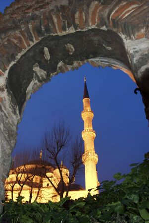 The Minaret of the Blue Mosque in Istanbul Turkey Imagens