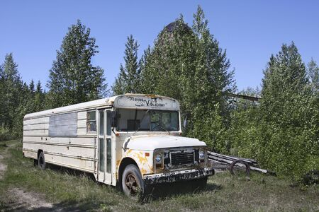 Abandoned Old school bus  Stock Photo