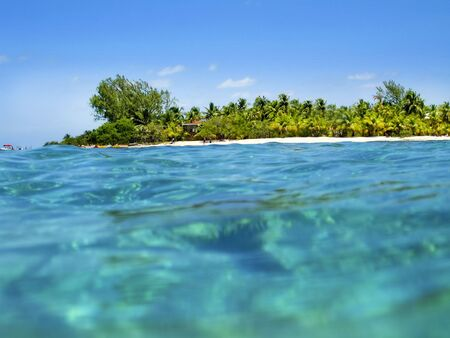 Belize Coast and turquoise ocean Stock Photo