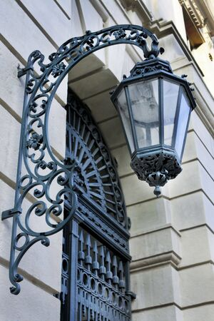 Street light on building in Vienna Stock Photo