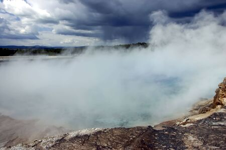 Storm rolling over the Grand Springs in Yellowstone National Park