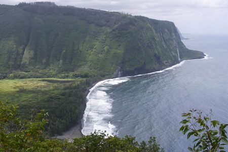 Misty shoreline of the Big Island of Hawaii Stock Photo