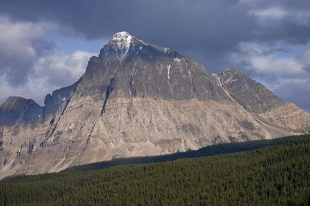 View of Mountain Peak in Jasper National Park