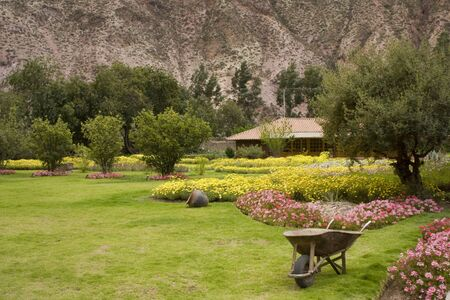 A beautiful garden in the Yucay Valley found, Peru, South America