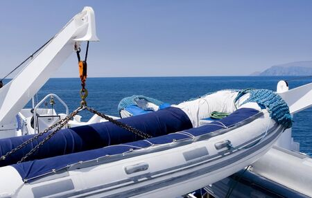 Inflatable raft for going to the Galapagos Islands, Ecuador, South America Stock Photo