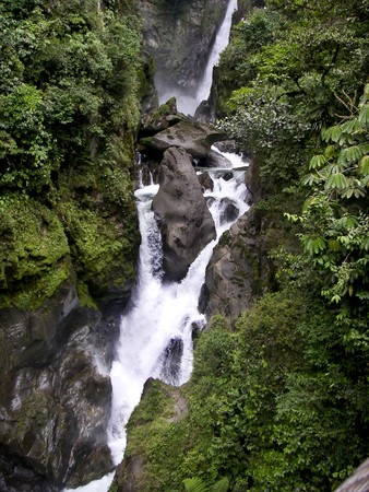 A three stepped waterfall in the cloud forest of Ecuador, South America Stock Photo