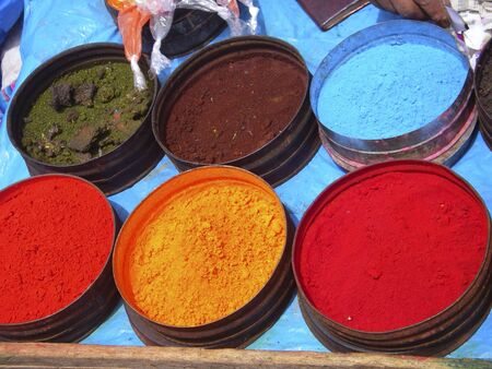 Nature coloring dyes in Cuzco Peru Stock Photo