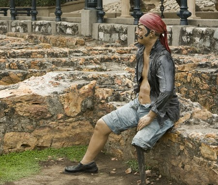 Statue of a Pirate in Barrio las Pe�as park Guayaquil, Ecuador
