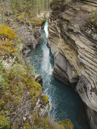 Athabasca River in Jasper National Park Stock Photo