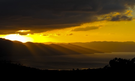 Sunset on Arenal Lake Costa Rica Stock Photo