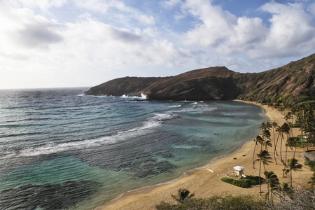 Overview of Hanauma Bay, Oahu Hawaii where you can go snorkelling and diving just off shore  Stock Photo