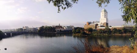 Panorama with the Vyborg fortress photo