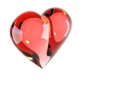 Scarlet heart, glass, 3D photo