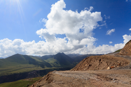 alpine zone: building roads in the mountains, Caucasus, Russia