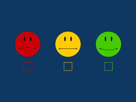 smileys: Three colorful smileys in red yellow green. Stock Photo