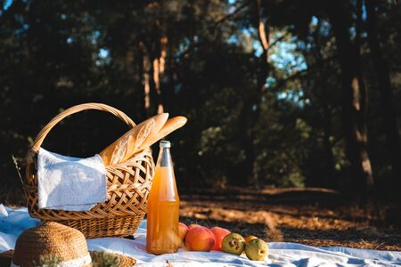 Picnic outdoors on a forest meadow. A basket, bottle of juice and fruits laid out for a romantic lunch, vintage looking image