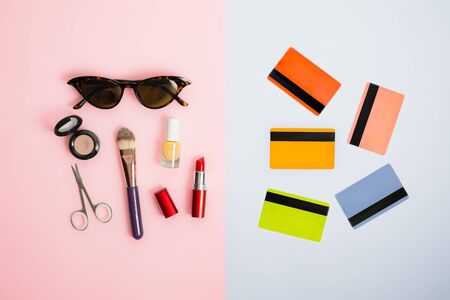 Gender stereotypes: division of men and women activities. Credit cards opposed to beauty products and cosmetics