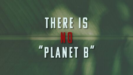 There is no planet B phrase on green plant background. The illustration for global warming, environmental damage and planet pollution topics Stock Photo